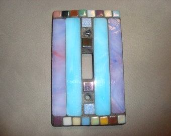 MOSAIC Light Switch Plate -  Single Switch, Wall Art, Wall Plate, Stained Glass Strips, Lavender, Aqua