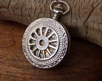 Luxury Silver Pocket Watch - Mechanical - Pocket Watch Chain - Engravable - Best Man - Groom - Groomsmen Gift - Watch - Item MPW771