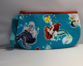 Little Mermaid Wristlet / Pouch -- Handmade  Ariel...Disney  Eric  Ursula  Wedding