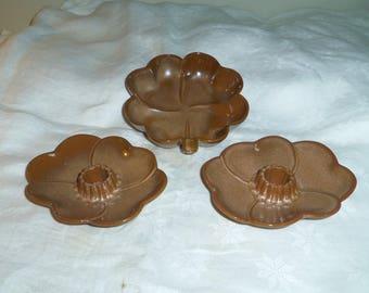 Frankoma Pottery, Brown Satin Candlesticks #300 and Nutdish #223 1960s