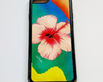 Pink Hibiscus tropical flower surf beach iPhone case fits iPhone 6and 7 Galaxy 6 and 7