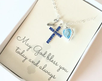 Crystal Cross Pendant - Cross Necklace - Sapphire - Aquamarine - September - March - First Communion Gift - Gift for Goddaughter - N101