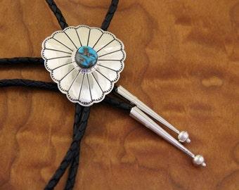 Navajo Silver Turquoise Bolo Tie Tim Kee Whitman