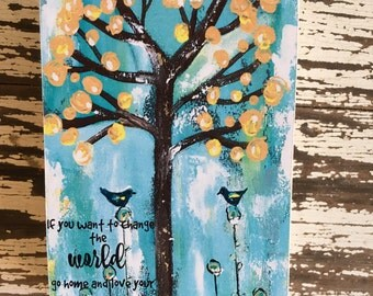 bird art block,ACEO  Reproduction Mounted On Wood Block by Sunshine Girl Designs (2.5 x 3.5 Inches Print)tree, mother Teresa quote