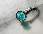 Vibrant Blue Apatite Engagement Ring Modern 14K White Gold Tall Open Peekaboo Bezel Setting Natural Gemstone Brazil Bridal - Lake Paradise