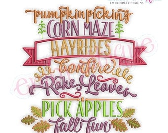 Pumpking Picking Corn Maze Word Block - Classic Fall Word Block - Instant Download Machine embroidery design