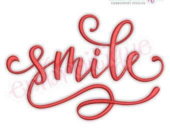 Smile in Calligraphy Script -  Instant Download Machine Embroidery Design