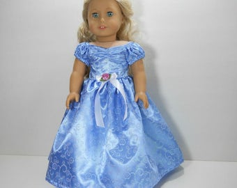 18 inch doll clothes made to fit dolls such as American Girl®  Blue Satin Ball Gown Fancy Party Dress, 03-1941