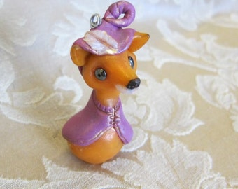 Fox Pendant or Ornament, Cute Fairy Tale Figurine, Story Book Art, Charm, Totem, Spirit Animal, Forest Fox, Robin Hood, Sherwood Forest