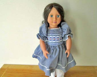 "Ready to Smock Gingham Yoke Style Dress for 18"" Doll"