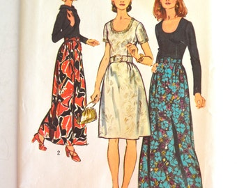 Vintage 1970's Simplicity 5322 Dress in Two Lengths Size 20.5 UNCUT