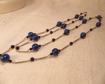 Long Sterling Art Deco Lapis Onyx Necklace Art Deco Necklace Victorian Necklace Sterling Victorian Sterling Art Deco Jewelry