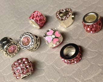 European style Pink little lot of Rhinestone Bling beads little lot of Eight Mix and Match add to bracelet (NOT INCLUDED)