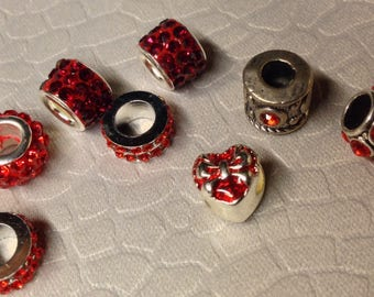 European style RED little lot of Rhinestone Bling beads little lot of Eight Mix and Match add to bracelet (NOT INCLUDED)