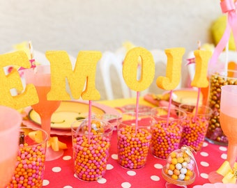 EMOJI PARTY, Emoji Birthday, Emoji Decorations, Emoji Party Centerpiece, Centerpiece, Emoji, Foam Letters, Emoji Decorations, Emoji Decor
