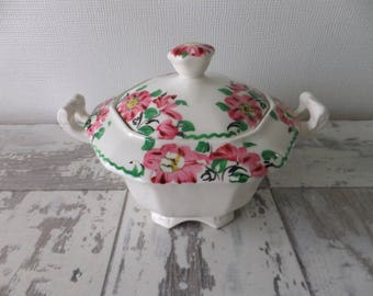 Vintage Alfred Meakin Sugar Bowl with Lid Hand Painted Pink Daisies Flowers Octagon England Tea Art Deco