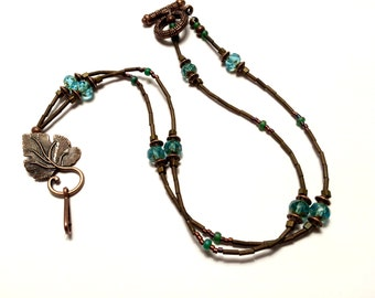 Aqua Glass and Antique Copper Lanyard ID Badge: Gift for Teachers, Nurses, Government Workers
