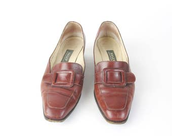 50% OFF SALE 80s Leather Oxfords Brown Leather Flats Slip On Buckle Flats Dress Shoes Leather Flats Pointy Toe Brogues Size 5.5 E599