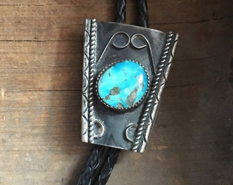 Vintage turquoise silver bolo tie, unisex Western tie, Old Pawn turquoise silver bola, bolo tie, boyfriend gift, Fathers Day gift for him