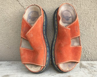 Vintage Dr Martens slip on sandals UK Size 4 US Women Size 6 orange rust suede leather Made in England, Doc Martens sandals, vintage Docs