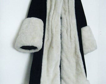 1920s FLAPPER COAT, Black Velvet with Faux Mink from 1960s period piece theater costume, size osfm
