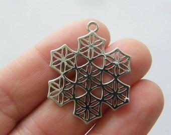1 Flower of life snowflake charm silver tone M851