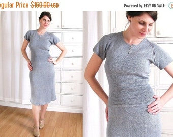 ON SALE 1940s Dress / 40s Knit Dress / Dusty Blue Dress