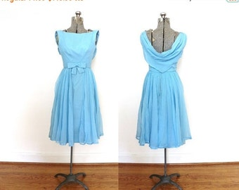 ON SALE Vintage Bridesmaid Dress / 1960s 1950s Powder Blue Chiffon Party Dress