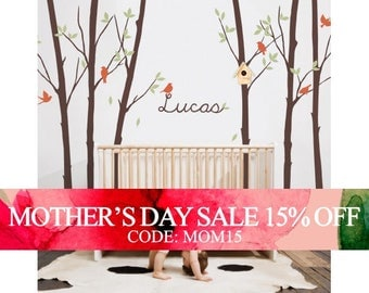 Mothers Day Sale - Tree Wall Decal with Leaves Birds & Personalized Name