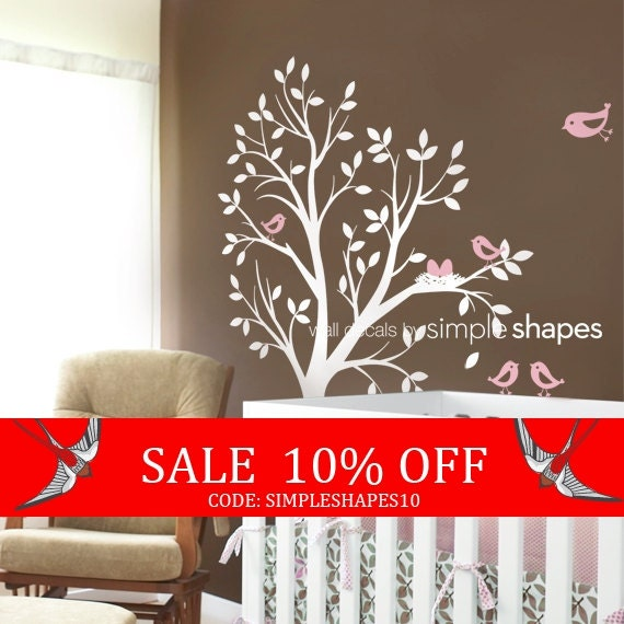 Sale - Tree Wall Decal - THE ORIGINAL - Tree with birds and nest for Baby Nursery