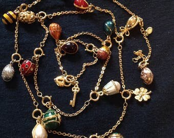 Vintage Joan Rivers Queen of Romania Egg and charm costume jewelry necklace Reduced Price