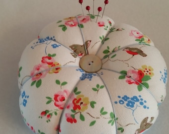 Handmade Large Pin Cushion made from Cath Kidston Stone Birds fabric