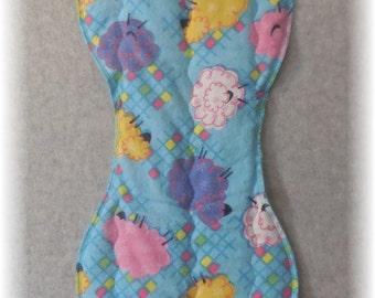 Baby Burp Cloth - Quilted Flannel Contoured Burp Cloth Sheep Blocks Print Baby Girl Burp Cloth