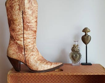 vintage, snakeskin cowgirl boots, by Charlie Horse, women's size 7 1/2