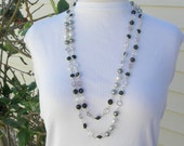 Extra Long Chanel-Style Necklace, Glass & Pearl Connectors, Wear it Long or Doubled, Mix with Other Necklaces, Vintage, SandraDesigns