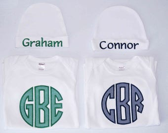 Monogrammed Baby Infant Gown, Bodysuit, Shirt, Circle Monogram, Appliqued, Boys or Girls, Unisex, Personalized Baby Clothing, Any Color