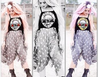 OS boho music Festival dress, Guns n Roses rock concert tshirt dress, free spirit, clothing Hippie bohemian chic, True rebel clothing
