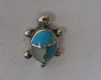 12mm  Turquoise Turtle Vintage Sterling  SINGLE Post Earring