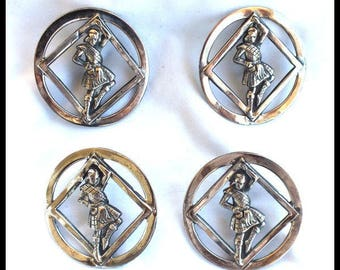 Highlander Inspired Vintage Silver Plated Scottish Kilt Dancer Buttons Cut-Out Metal Buttons Steampunk Free Shipping