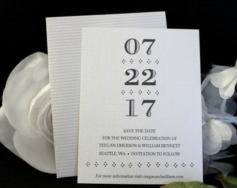 Black White Pearlized White Textured Save-The-Date Card and Metallic Strip Envelope
