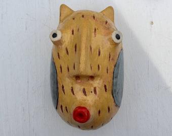 Yellow cat blue cheeks wall sculpture small rd. head