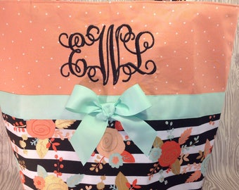 Mint coral diaper bag - tote bag - carry all - overnight bag - book bag - baby bag custom handmade your choice of name or initials