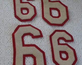 Vintage Patches Number Sports Appliques Red and White 9 or 6