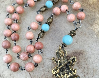 Saraswati Mala Necklace Amazonite Rosewood Mala Hindu Goddess Saraswati Pendant 27 Bead Mala Yoga Jewelry  Goddess of Art Music Knowledge OM