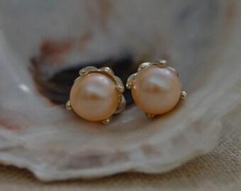 Lenae - Light Shimmering Blush color freshwater pearl stud earrings, wedding earrings, post earrings, gift idea, pearl jewelry, woman, teen