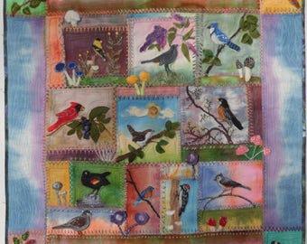 Birds in Wool, a Hand Felted Applique pattern by Debora Konchinsky
