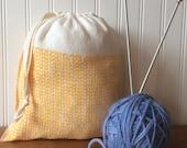 Knit Stitch Knitting Project Bag, Organic Linen Drawstring Bag, Cloth Gift Bag