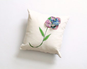 Small decorative pillow, painted pillow, throw pillow, small pillow, Spring pillow, bedroom pillow, 10 inch complete pillow, flower pillow