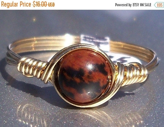 15% OFF SALE Mahogany Obsidian 14k Yellow Gold Filled Wire Wrapped Ring