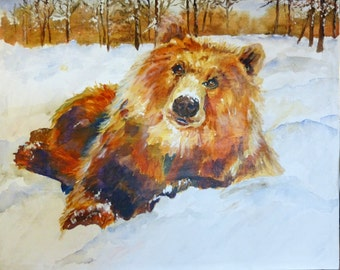 Bear in Snow Print by Maure Bausch